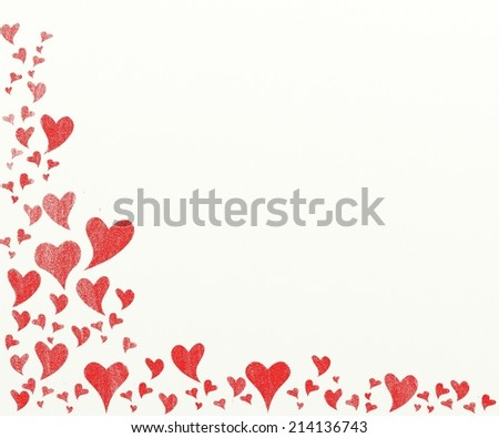 Valentine background - vintage, red hearts painting on canvas. Heart's frame. - stock photo