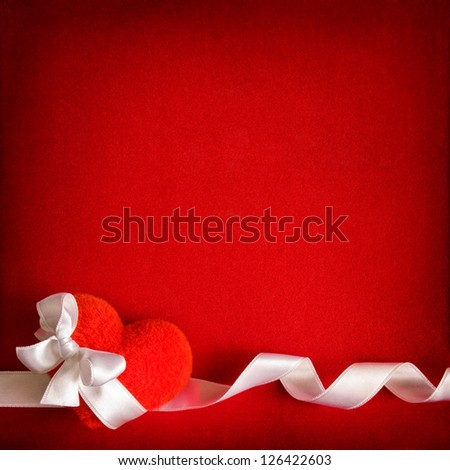 Valentine background with heart, bow and ribbon - stock photo