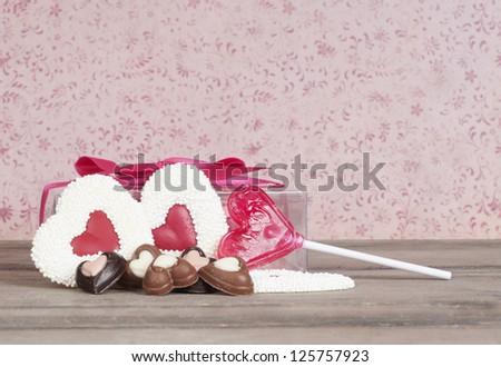 Valentine candy background - stock photo