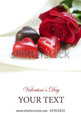 Valentine card.Chocolate hearts and red rose - stock photo