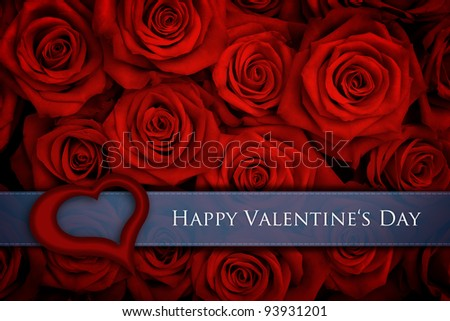 Valentine card with big bunch of red roses - stock photo