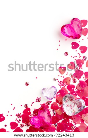 Valentine card with pink glass hearts - stock photo