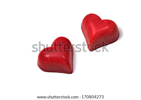 Valentine chocolate hearts - stock photo