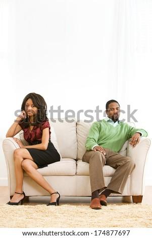 Valentine: Couple Split Apart After Argument - stock photo