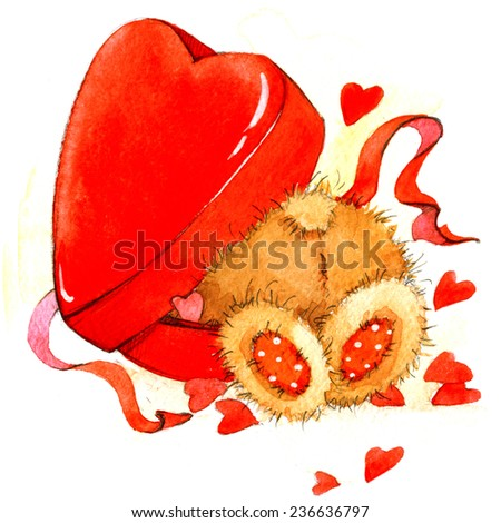 Valentine day. background for card with a cute teddy bear and red heart . watercolor drawing - stock photo
