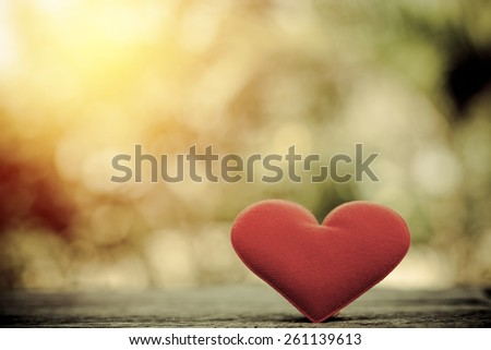 Valentine day background. Red heart with blur tree background. Vintage filter. - stock photo