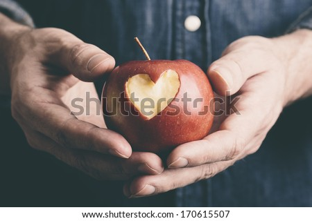 Valentine Day concept with apple - stock photo