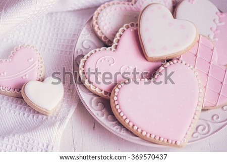 Valentine day cookies in pastel colors - stock photo