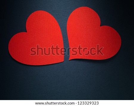 Valentine day couple hearts made of paper on blue paper background - stock photo