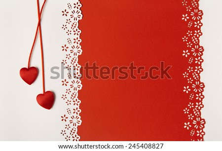 Valentine Day Hearts Red Background. Empty Greeting Card Decorative Love Template. Wedding Invitation Concept.  - stock photo
