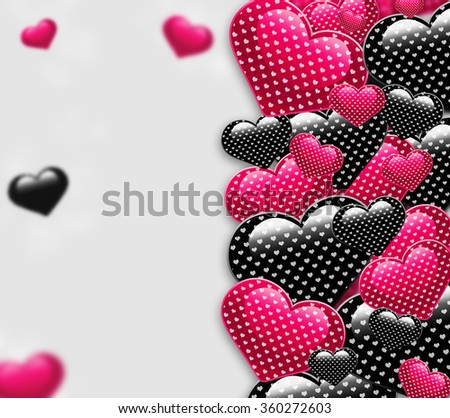 Valentine day love beautiful. Elegant beautiful black and pink background with shining hearts with pattern and blurred parts. Trendy candy berries colors romantic love postcard concept. - stock photo