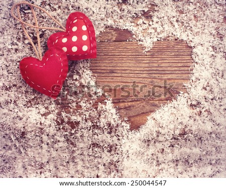 Valentine day love beautiful. Top view horizontally. Snow on the wooden table - stock photo