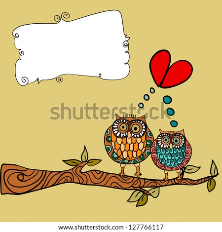 Valentine day lovely owls couple in tree branch greeting card background. - stock photo