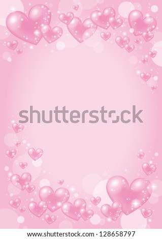 Valentine Design with pink heart - stock photo