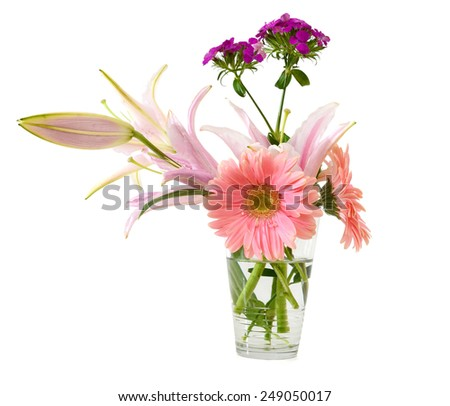 valentine flowers in vase isolated white - stock photo
