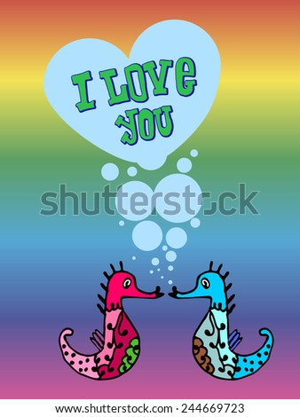 Valentine for gays, the heart of bubbles, cartoon fish in the sea, I love you, postcard for 14 February, Rainbow background, lgbt - stock photo