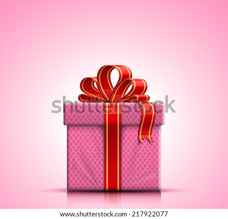 Valentine gift box with red ribbon and bow on pink background. Raster illustration - stock photo