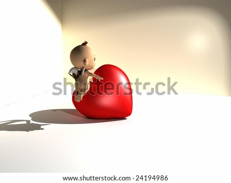 valentine heart and cupid - stock photo