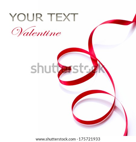 Valentine Heart. Elegant Red satin gift Ribbon. Isolated on white. Border design. Red silk ribbon curves Frame - stock photo