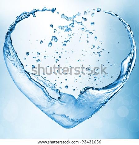 Valentine heart made of blue water splash - stock photo