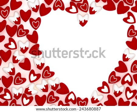 Valentine heart made of many small pink velvet hearts on white background - stock photo