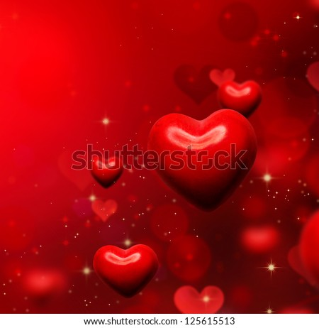 Valentine Hearts Background. Valentines Red Abstract Wallpaper. Backdrop Collage. St.Valentine's Day - stock photo