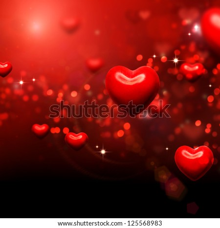 Valentine Hearts Background. Valentines Red Abstract Wallpaper. Backdrop. St. Valentine's Day Card Design - stock photo