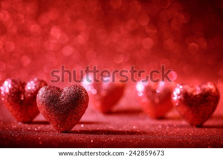 Valentine Hearts on Abstract Background - stock photo