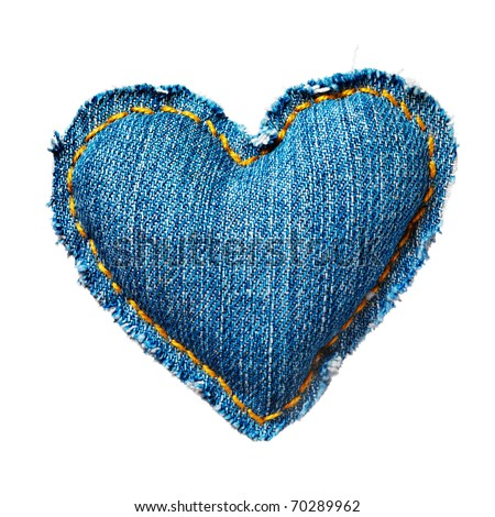 Valentine jeans heart. Isolated on white. - stock photo