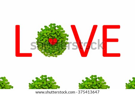 Valentine love symbol surrounded by green lily with love text isolated in white background - stock photo