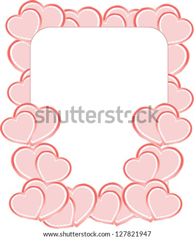 valentine photo frames or card with set of love heart, raster - stock photo