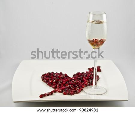 Valentine pomegranate theme - stock photo