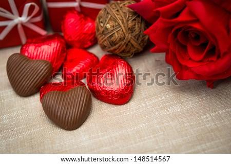 Valentine's Chocolate-Love sweet heart shaped chocolates candies - stock photo