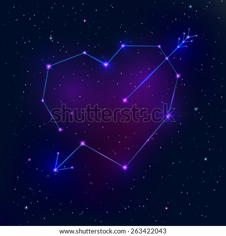Valentine's day abstract background with a heart as a constellation - stock photo