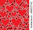 Valentine's day abstract red background with hearts. Seamless pattern. Raster illustration. - stock photo