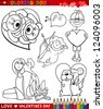 Valentine's Day and Love Themes Collection Set of Black and White Cartoon Illustrations for Coloring Book - stock photo