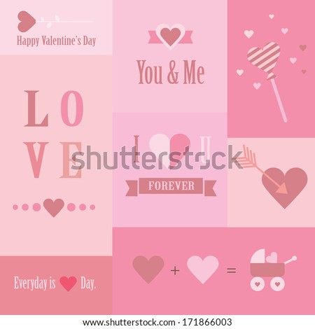 Valentine's day and wedding set of cards - stock photo