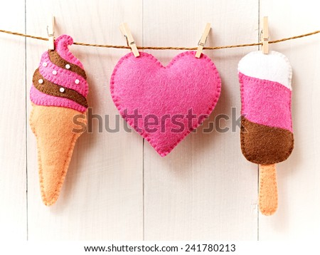 Valentine's Day background . Heart, Sweet Ice Cream Couple Handmade. Love concept on wooden background  - stock photo