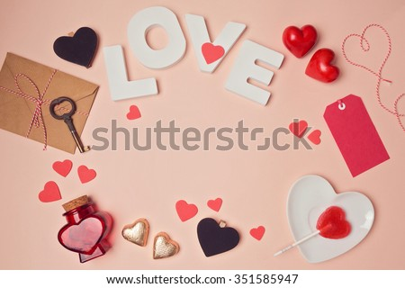 Valentine's day background with love letters and heart shapes. View from above - stock photo