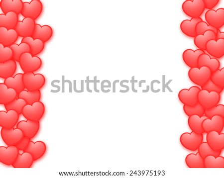 Valentine's Day background with red hearts - stock photo