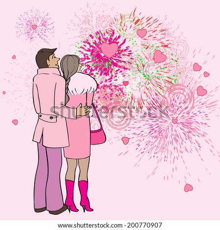 Valentine's Day card, cartoon hand drawn illustration of two lovers watching fireworks and hearts in the sky - stock photo