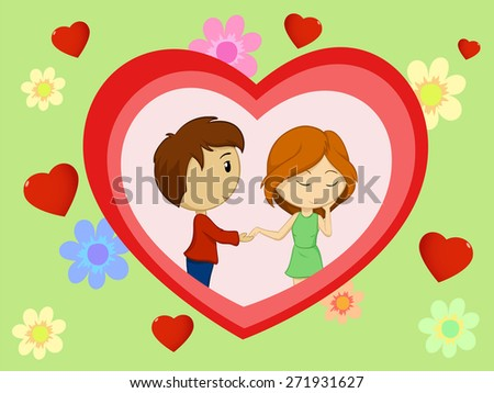 Valentine's day card with couple in heart shape hand drawn - stock photo