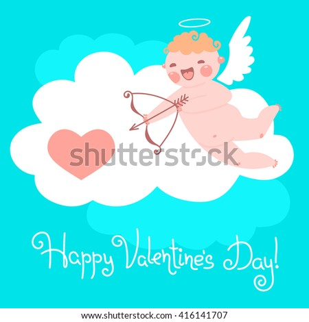 Valentine's Day card with cute Cupids and hearts. - stock photo