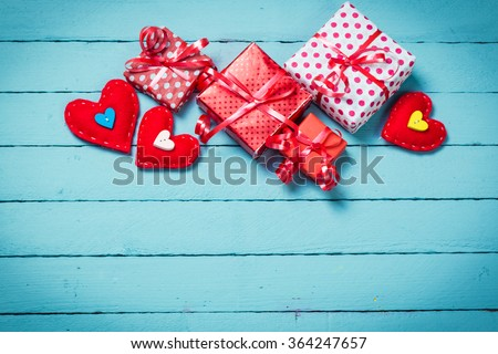 Valentine's day concept on wooden background. - stock photo