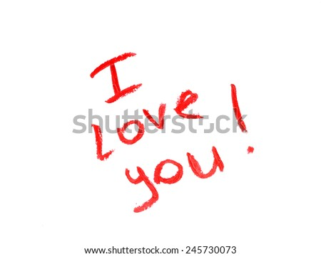 Valentine's Day. Declaration of love made by red lipstick - stock photo