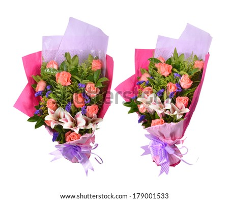 Valentine's Day decorated bouquet isolated over white - stock photo