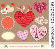 valentine's day design elements - different hearts. Raster Version - stock photo