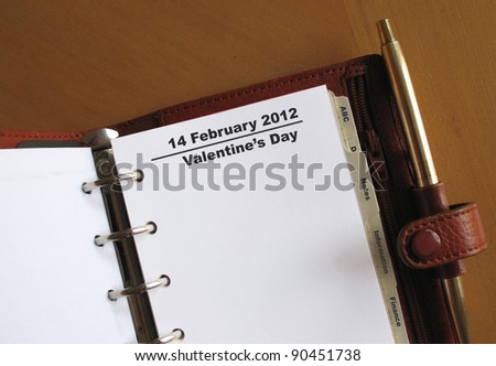 Valentine's Day, 14 February in a personal organizer - stock photo