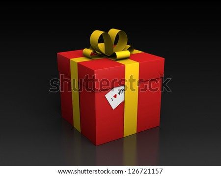 "Valentine's day gift box with ""I love You"" card (3D render) - stock photo"