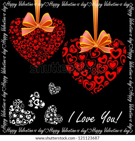 Valentine's Day Greeting Card with Composite Hearts, Raster Version - stock photo
